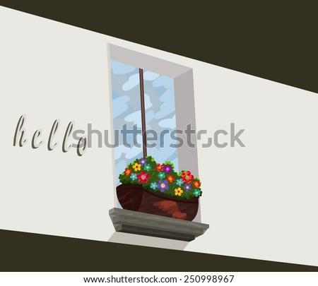 a window flower box  oil