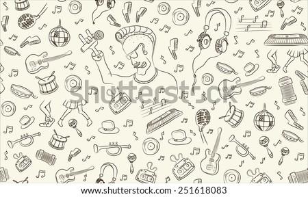 music seamless pattern freehand