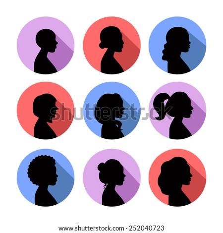 women profiles silhouettes