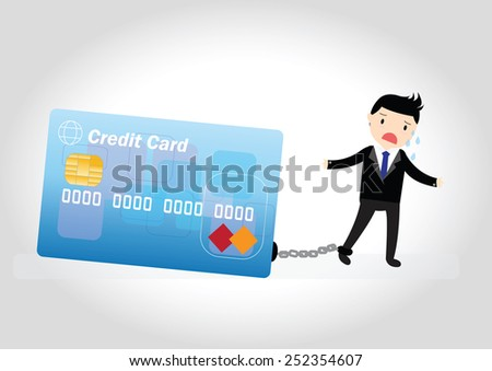businessman with debt bills and
