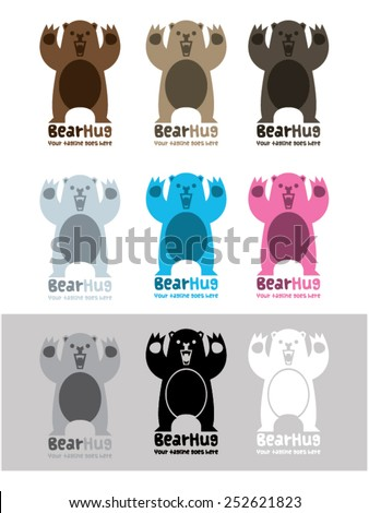 bear hug vector logo template