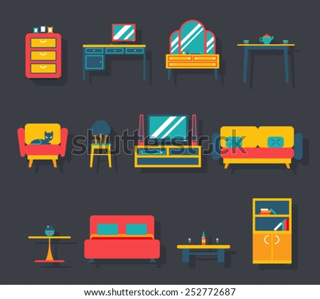 flat furniture icons and