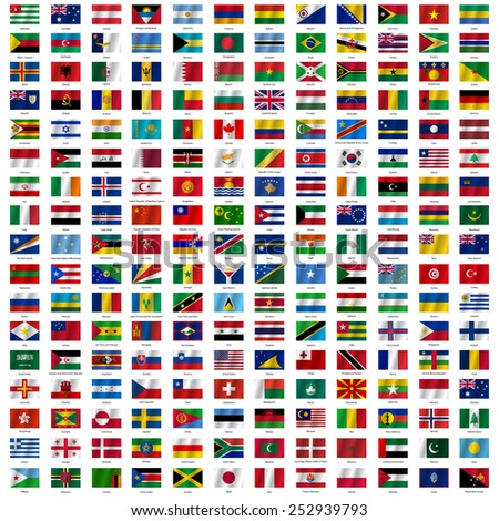 flags of the world and  map on