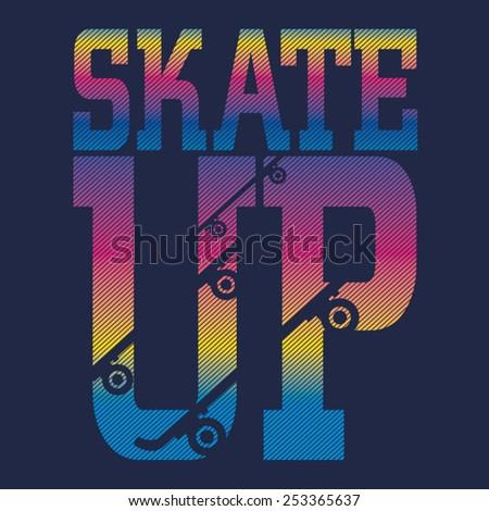 skate sport typography  t shirt