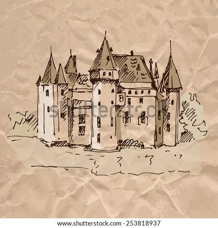 medieval castle sketch on