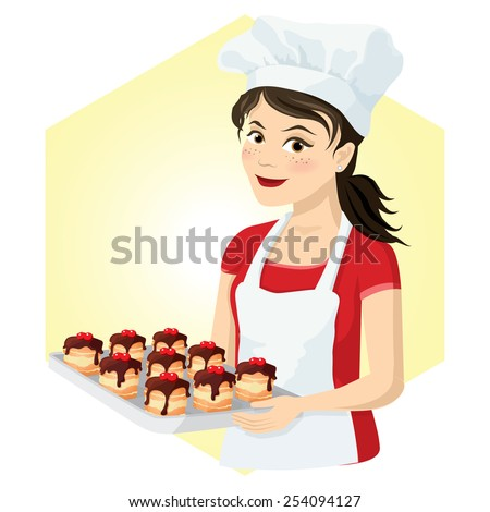 beautiful woman chef with cake
