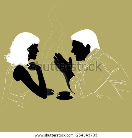 young couple enjoys a hot tea
