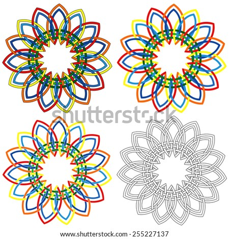 four abstract colorful vector