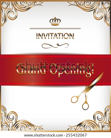 Showroom opening ceremony invitation card free vector download