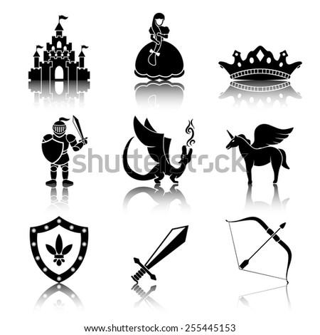 set of monochrome fairytale
