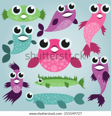 cartoon sea fish set  funny