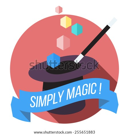 magic hat and wand flat vector