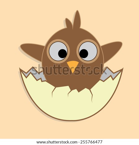 cute cartoon newborn chick in