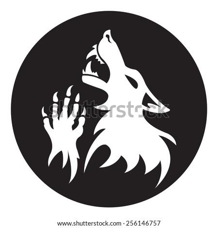 vector werewolf stencil black