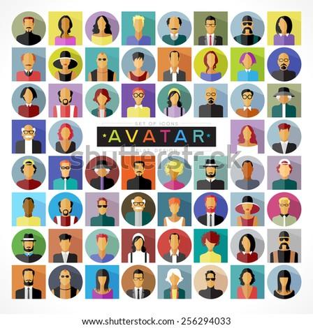 set avatars people modern flat