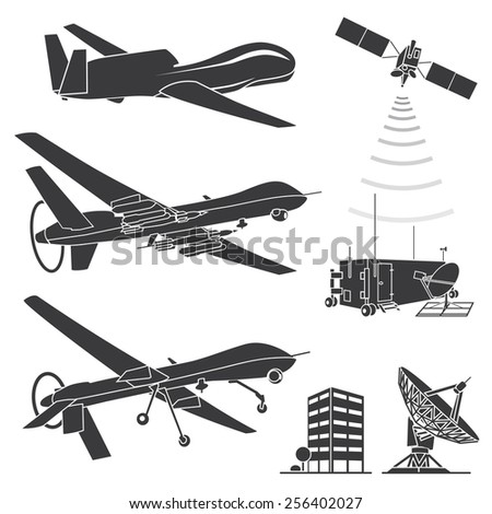military drones vector