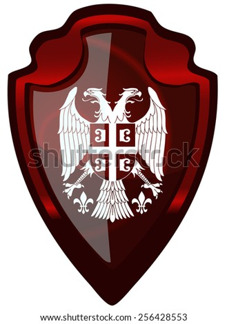serbia coat of arms on a glossy