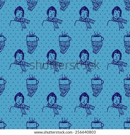 seamless pattern with sick