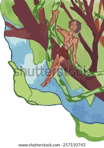 a man in a loincloth with vines