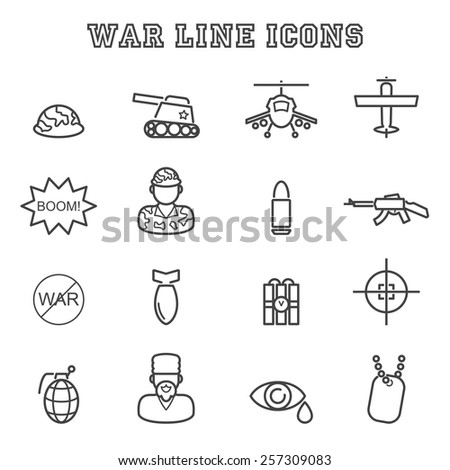war line icons  mono vector