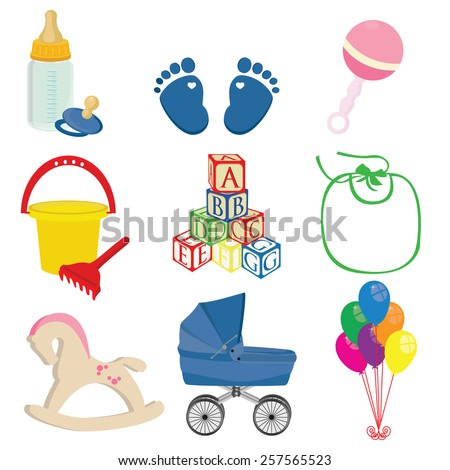 baby vector icons set  blue