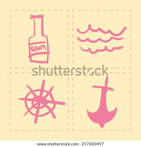 pirates travel hand drawn icons