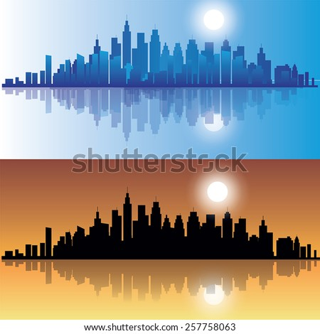 city skylines at evening in two