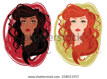two vector portrait of
