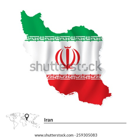 map of iran with flag   vector