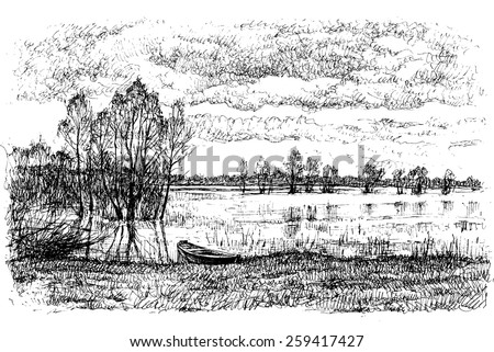 landscape with river and boat