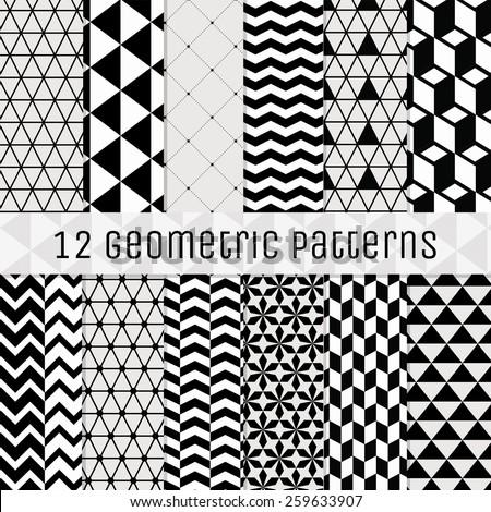 set of 12 seamless geometric