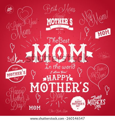set of mother's day vector
