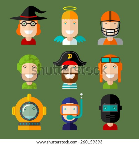 set of vector avatar in flat