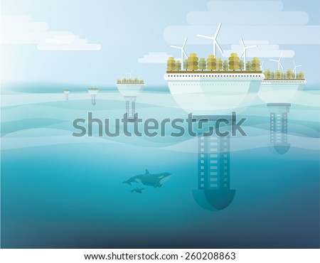 futuristic floating eco