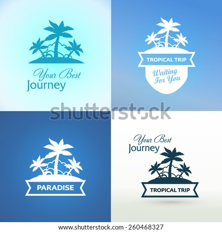 emblems with tropical island