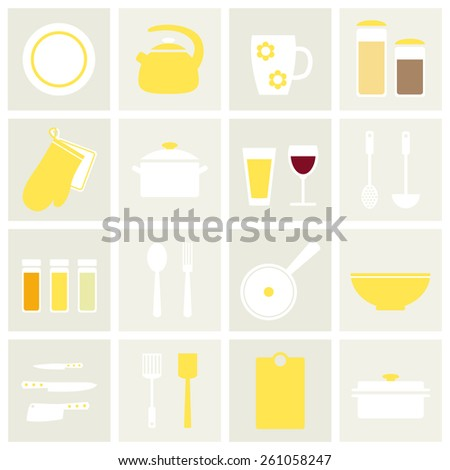 flat simple kitchen stuff set