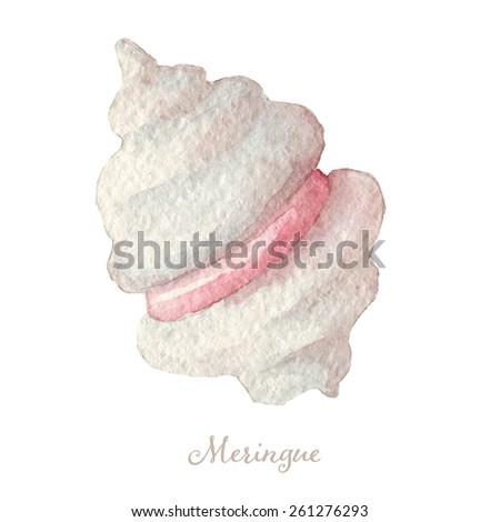 watercolor hand drawn meringue