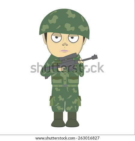 vector cartoon soldier and a