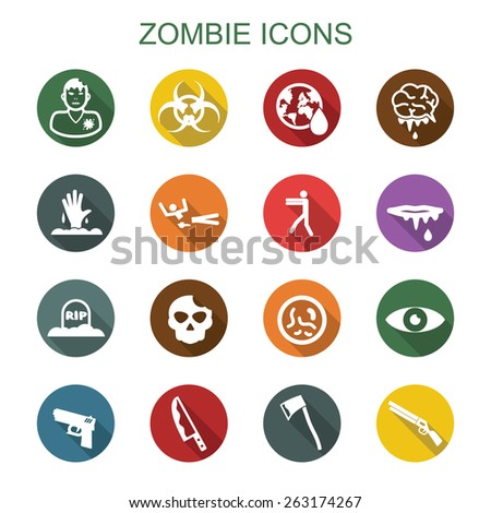 zombie long shadow icons  flat