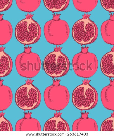 sketch tasty pomegranates in