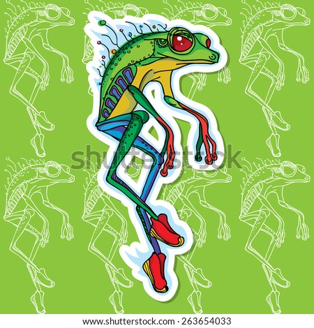 sports frog vector image