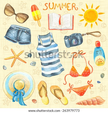 collection of summer watercolor