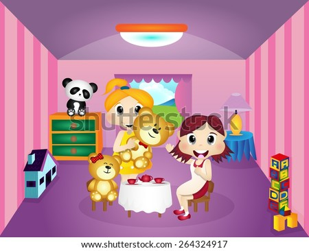 little girls playing with teddy
