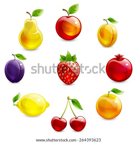 set of bright fruit on a white