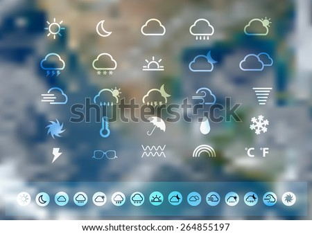 weather icons set with blurred