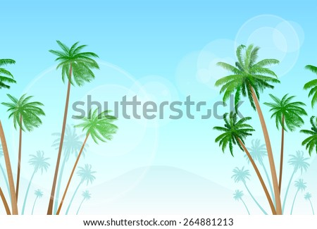 green palm tree with copy space