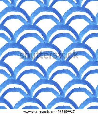 blue watercolor wave seamless