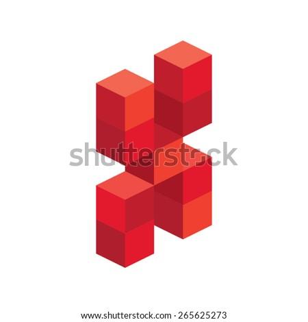 3d cube letter x vector