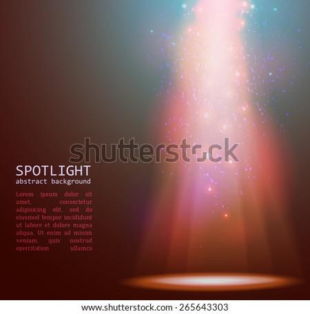 spotlight on stage with smoke