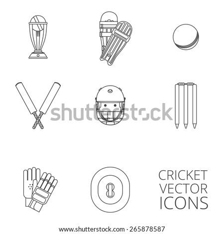 cricket equipment icons set